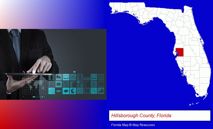 information technology concepts; Hillsborough County, Florida highlighted in red on a map
