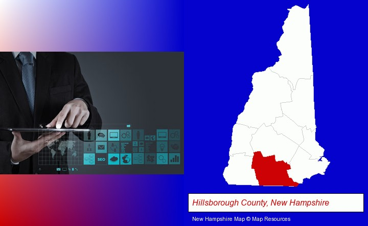information technology concepts; Hillsborough County, New Hampshire highlighted in red on a map