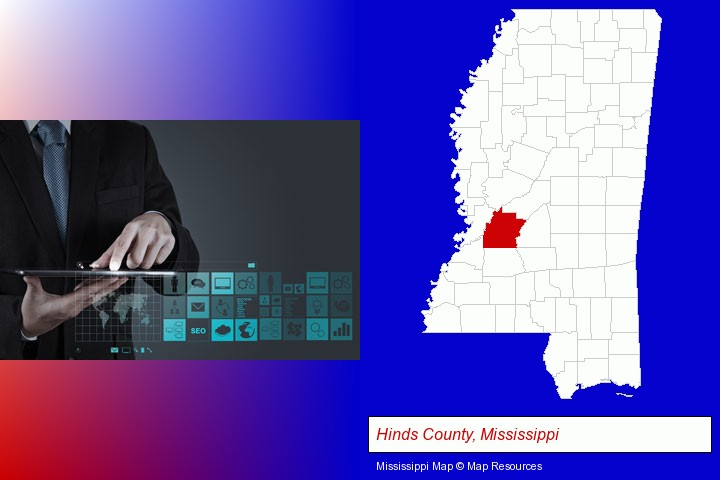 information technology concepts; Hinds County, Mississippi highlighted in red on a map