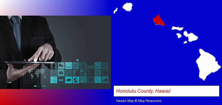 information technology concepts; Honolulu County, Hawaii highlighted in red on a map