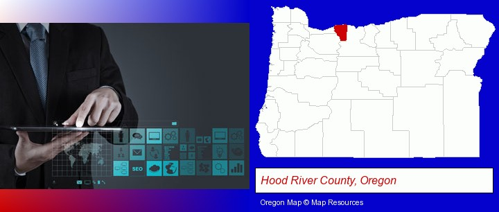 information technology concepts; Hood River County, Oregon highlighted in red on a map