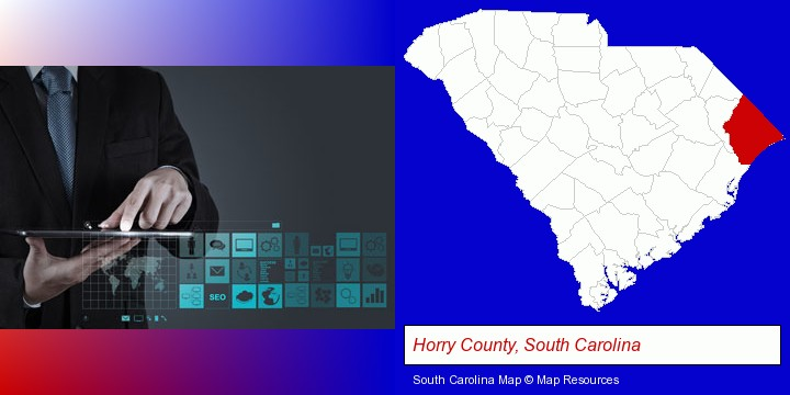 information technology concepts; Horry County, South Carolina highlighted in red on a map