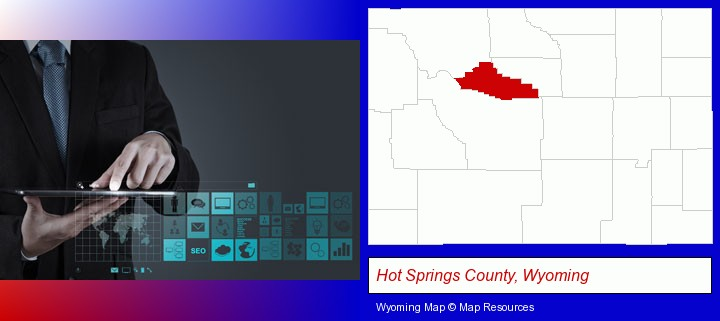 information technology concepts; Hot Springs County, Wyoming highlighted in red on a map