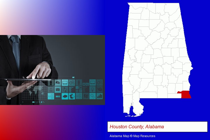 information technology concepts; Houston County, Alabama highlighted in red on a map