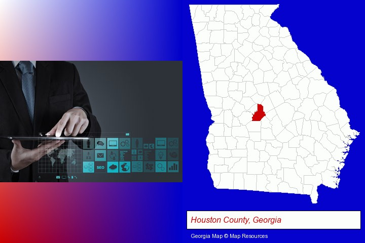 information technology concepts; Houston County, Georgia highlighted in red on a map