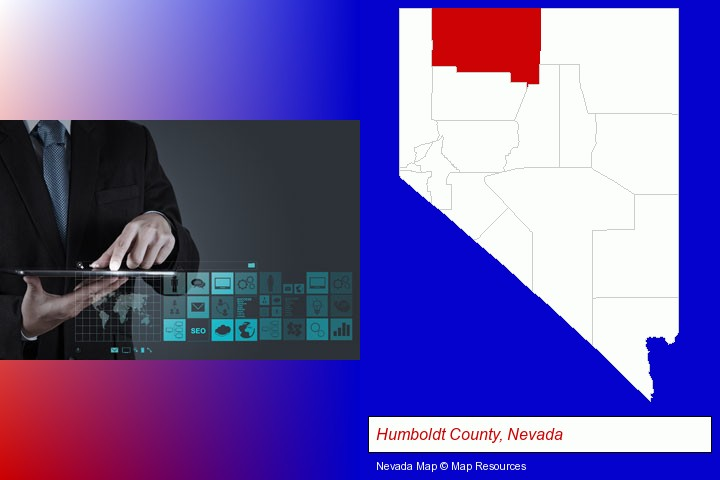 information technology concepts; Humboldt County, Nevada highlighted in red on a map