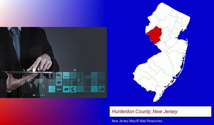 information technology concepts; Hunterdon County, New Jersey highlighted in red on a map