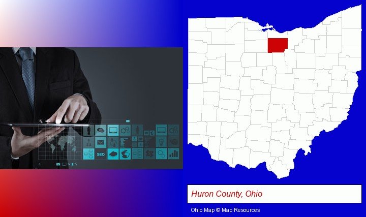 information technology concepts; Huron County, Ohio highlighted in red on a map