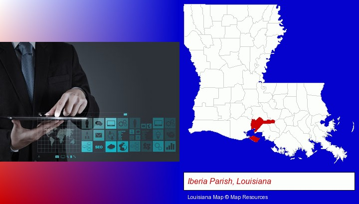 information technology concepts; Iberia Parish, Louisiana highlighted in red on a map