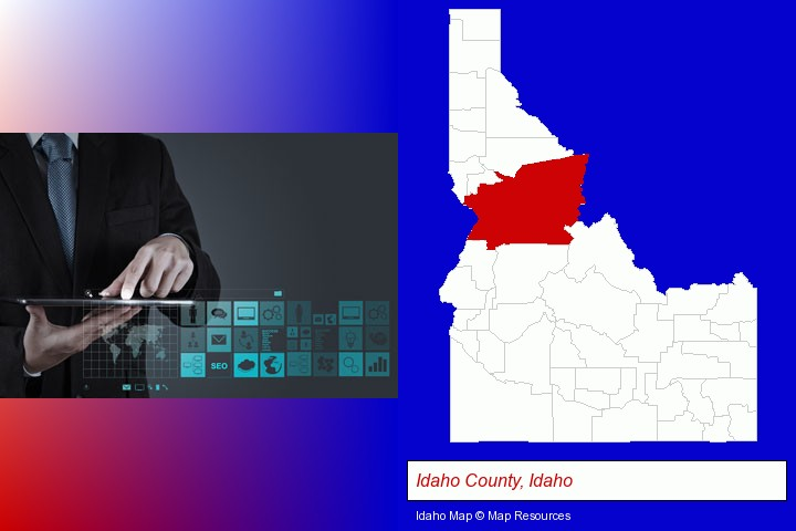 information technology concepts; Idaho County, Idaho highlighted in red on a map