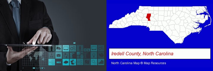 information technology concepts; Iredell County, North Carolina highlighted in red on a map