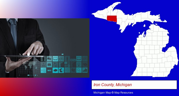 information technology concepts; Iron County, Michigan highlighted in red on a map