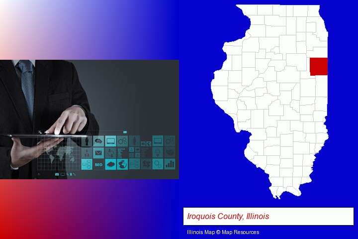 information technology concepts; Iroquois County, Illinois highlighted in red on a map