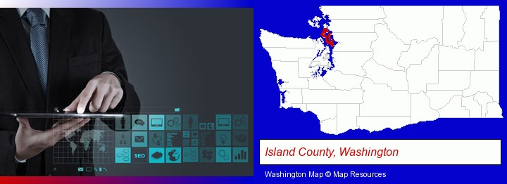 information technology concepts; Island County, Washington highlighted in red on a map