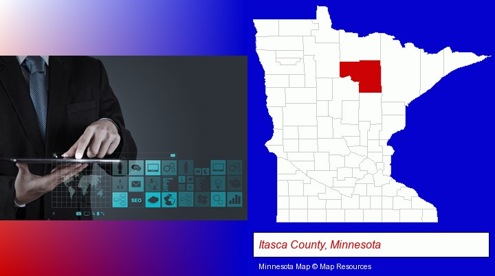 information technology concepts; Itasca County, Minnesota highlighted in red on a map