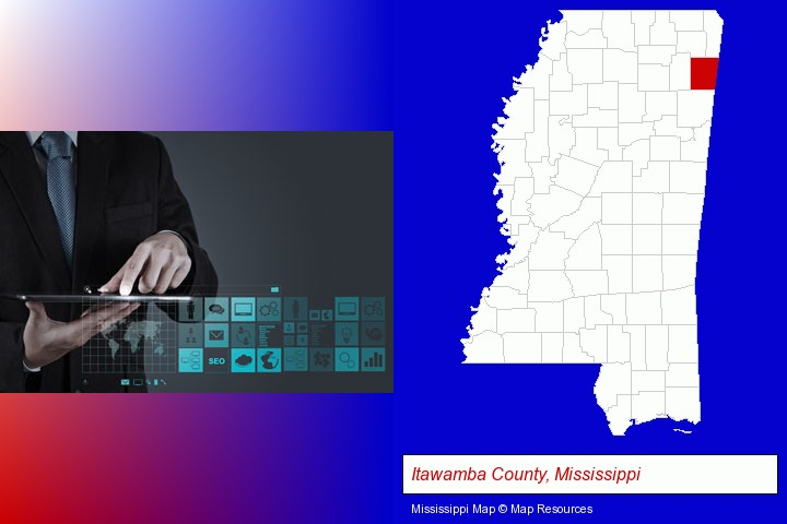 information technology concepts; Itawamba County, Mississippi highlighted in red on a map