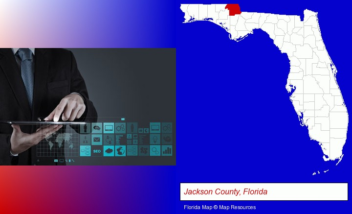 information technology concepts; Jackson County, Florida highlighted in red on a map