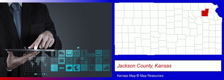information technology concepts; Jackson County, Kansas highlighted in red on a map