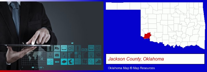 information technology concepts; Jackson County, Oklahoma highlighted in red on a map