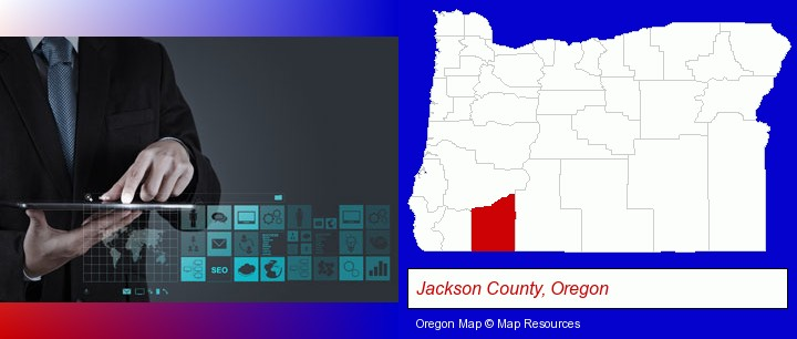 information technology concepts; Jackson County, Oregon highlighted in red on a map
