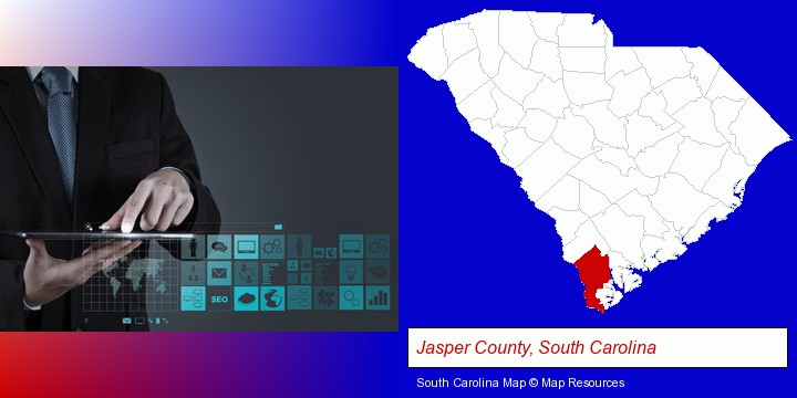 information technology concepts; Jasper County, South Carolina highlighted in red on a map