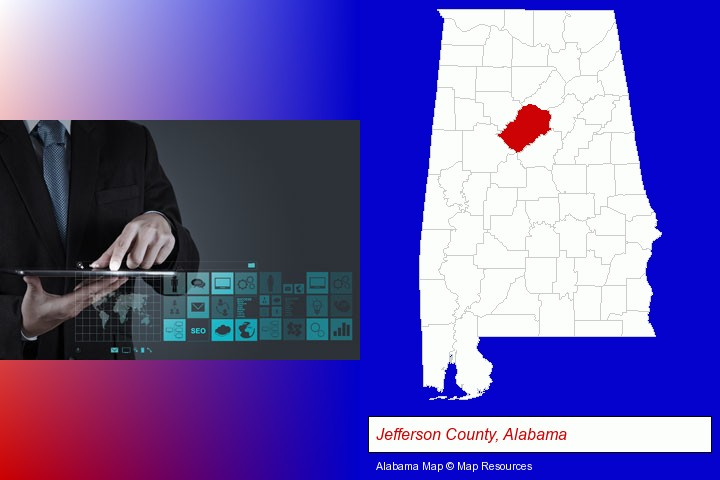 information technology concepts; Jefferson County, Alabama highlighted in red on a map