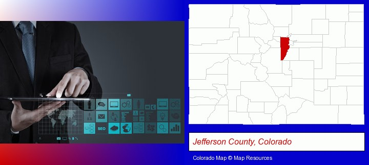 information technology concepts; Jefferson County, Colorado highlighted in red on a map