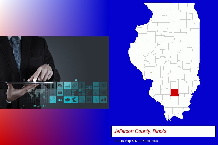 information technology concepts; Jefferson County, Illinois highlighted in red on a map