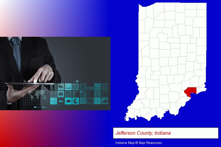 information technology concepts; Jefferson County, Indiana highlighted in red on a map