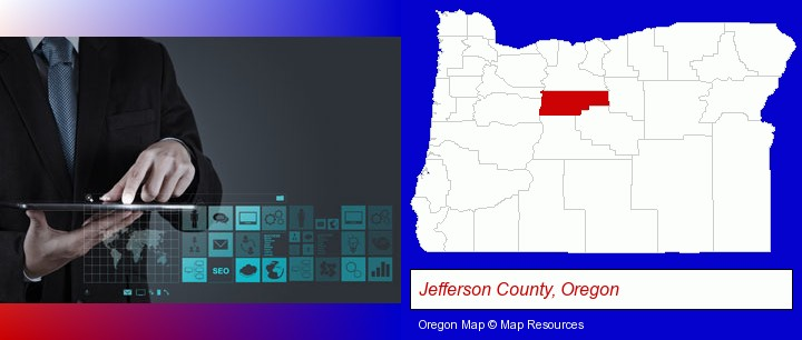 information technology concepts; Jefferson County, Oregon highlighted in red on a map
