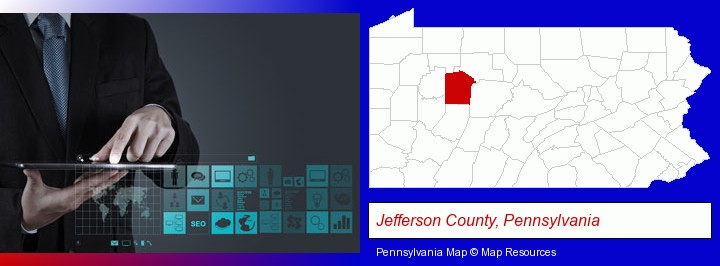 information technology concepts; Jefferson County, Pennsylvania highlighted in red on a map