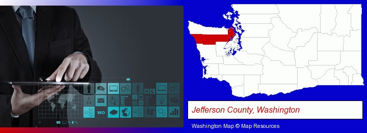 information technology concepts; Jefferson County, Washington highlighted in red on a map