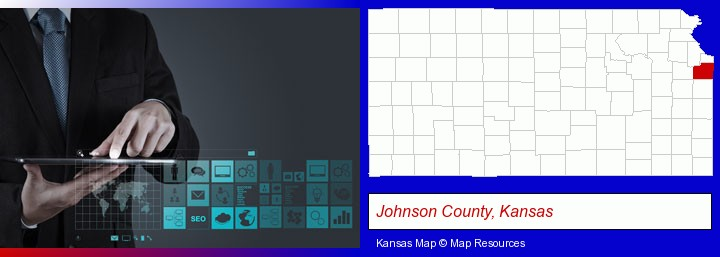 information technology concepts; Johnson County, Kansas highlighted in red on a map