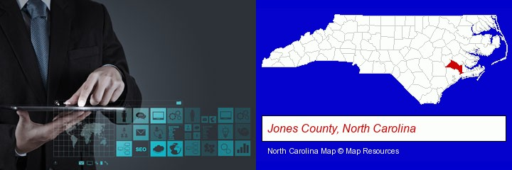 information technology concepts; Jones County, North Carolina highlighted in red on a map