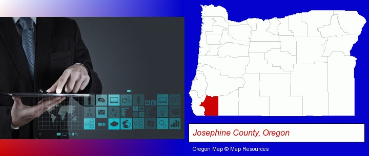 information technology concepts; Josephine County, Oregon highlighted in red on a map