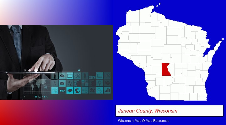 information technology concepts; Juneau County, Wisconsin highlighted in red on a map