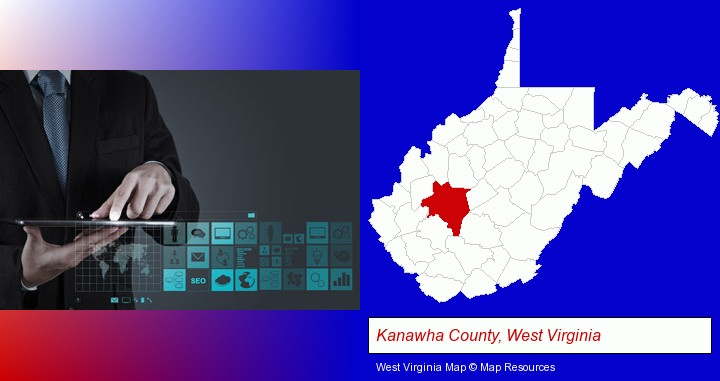 information technology concepts; Kanawha County, West Virginia highlighted in red on a map