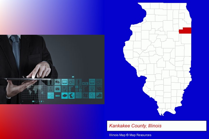 information technology concepts; Kankakee County, Illinois highlighted in red on a map