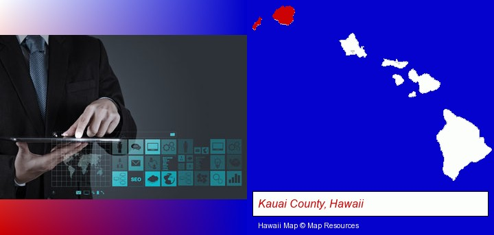information technology concepts; Kauai County, Hawaii highlighted in red on a map