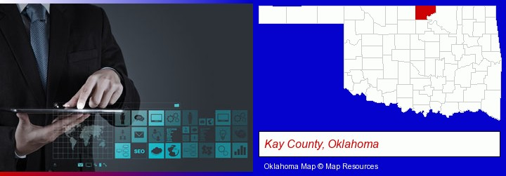 information technology concepts; Kay County, Oklahoma highlighted in red on a map