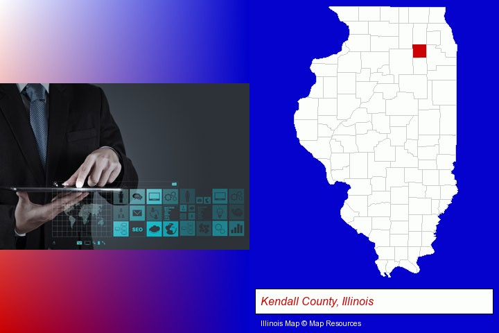 information technology concepts; Kendall County, Illinois highlighted in red on a map