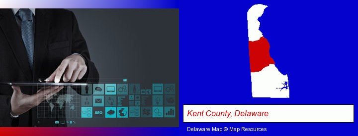 information technology concepts; Kent County, Delaware highlighted in red on a map