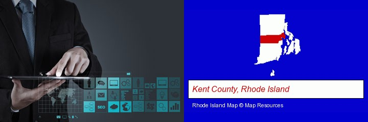 information technology concepts; Kent County, Rhode Island highlighted in red on a map