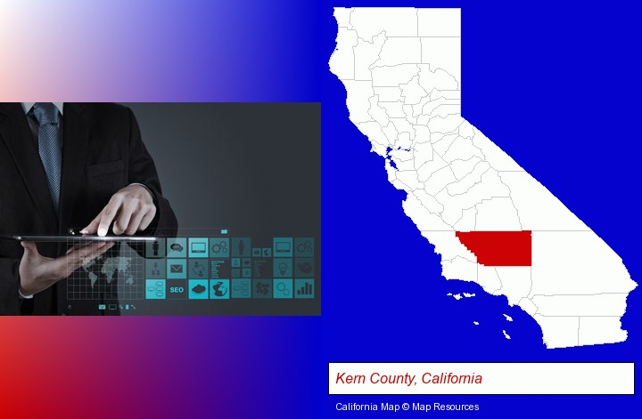 information technology concepts; Kern County, California highlighted in red on a map