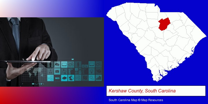 information technology concepts; Kershaw County, South Carolina highlighted in red on a map