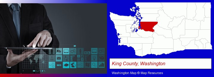 information technology concepts; King County, Washington highlighted in red on a map
