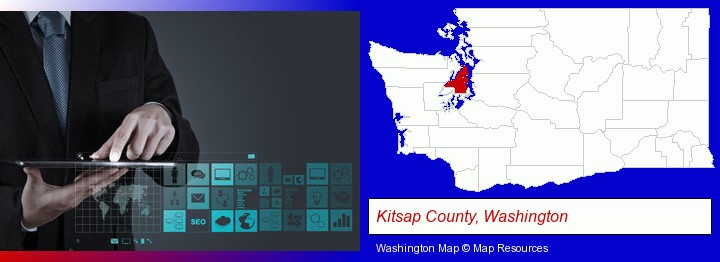 information technology concepts; Kitsap County, Washington highlighted in red on a map