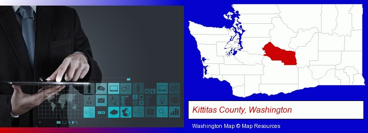information technology concepts; Kittitas County, Washington highlighted in red on a map