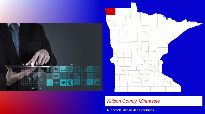 information technology concepts; Kittson County, Minnesota highlighted in red on a map