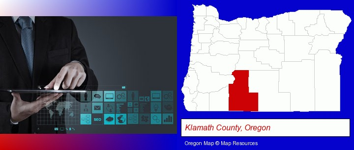 information technology concepts; Klamath County, Oregon highlighted in red on a map